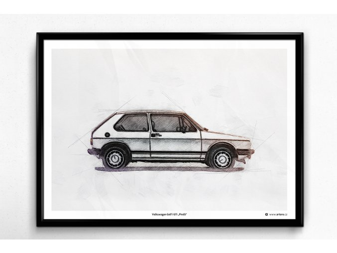 "Volkswagen Golf 1 GTI ""Pirelli"" - plakát, obraz na zeď"