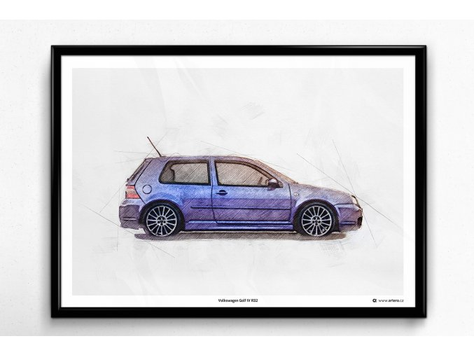 Volkswagen Golf 4 R32 - plakát, obraz na zeď