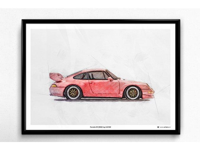 Porsche 911 (993) Cup 3.8 RSR - plakát, obraz na zeď