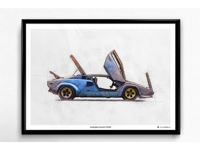 "Lamborghini Countach LP400S ""open"" - plakát, obraz na zeď"