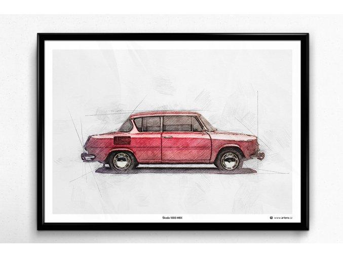 Škoda 1000 MBX - plakát, obraz na zeď