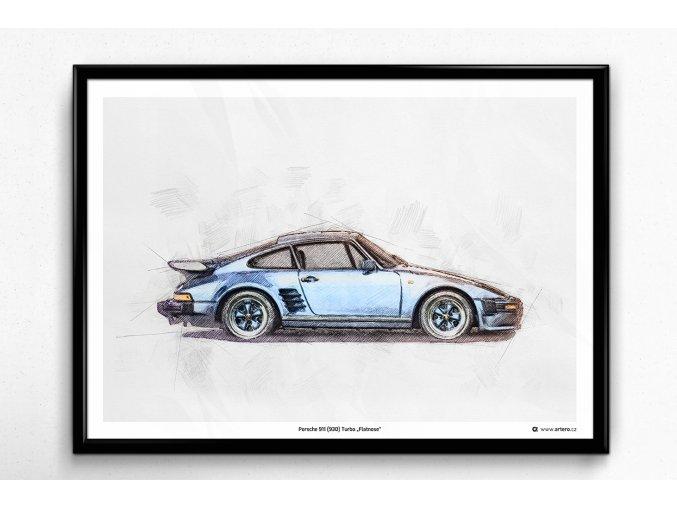 """Porsche 911 (930) Turbo """"Flatnose"""" - plakát, obraz na zeď"""