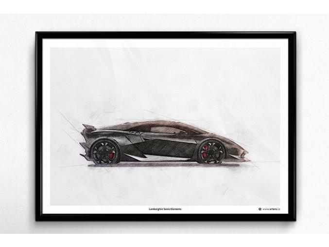 Lamborghini Sesto Elemento - plakát, obraz na zeď