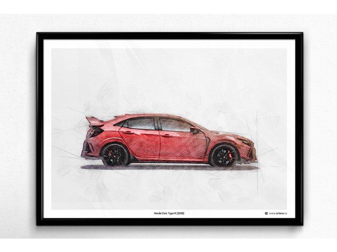 Honda Civic Type R (2018) - plakát, obraz na zeď