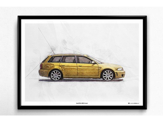 Audi RS4 (B5) Avant - plakát, obraz na zeď