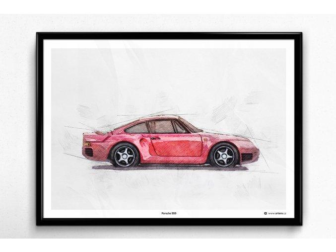 Porsche 959 - plakát, obraz na zeď