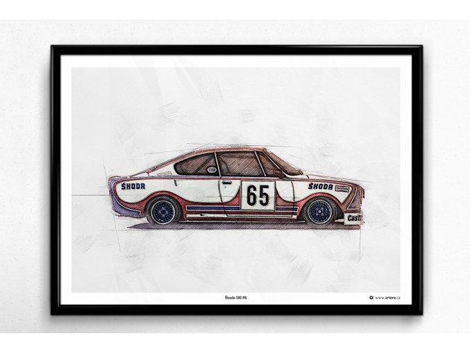 Škoda 130 RS, okruhová verze - plakát, obraz na zeď