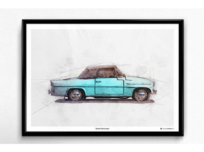Škoda Felicia (1964) s nataženou střechou - plakát, obraz na zeď