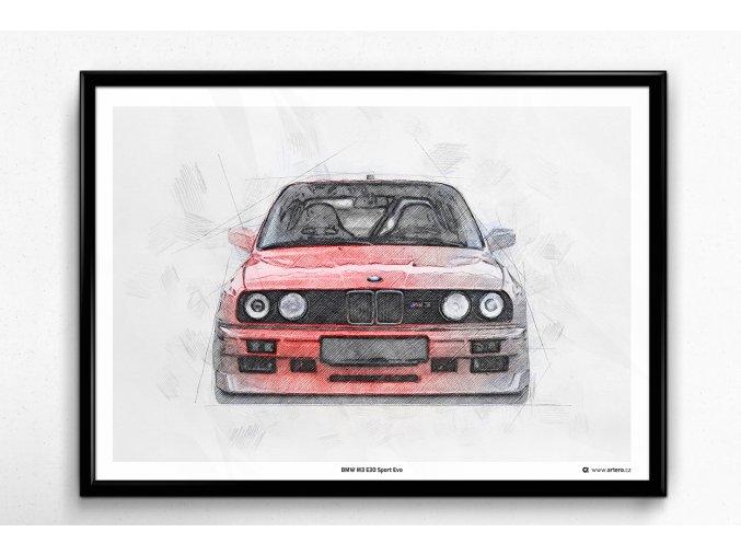 """BMW M3 E30 """"Front"""" - plakát, obraz na zeď"""