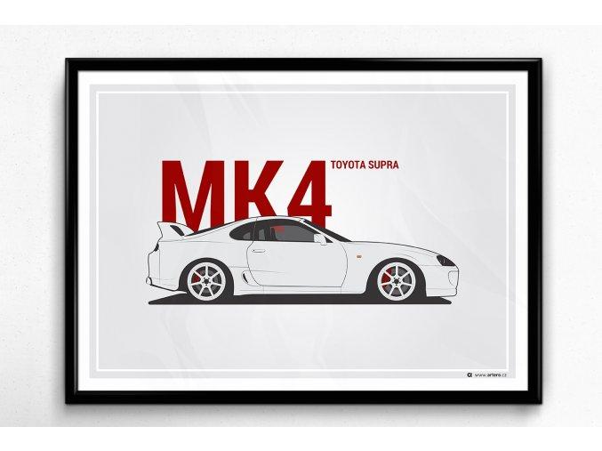 Toyota Supra MK4 - plakát, obraz na zeď