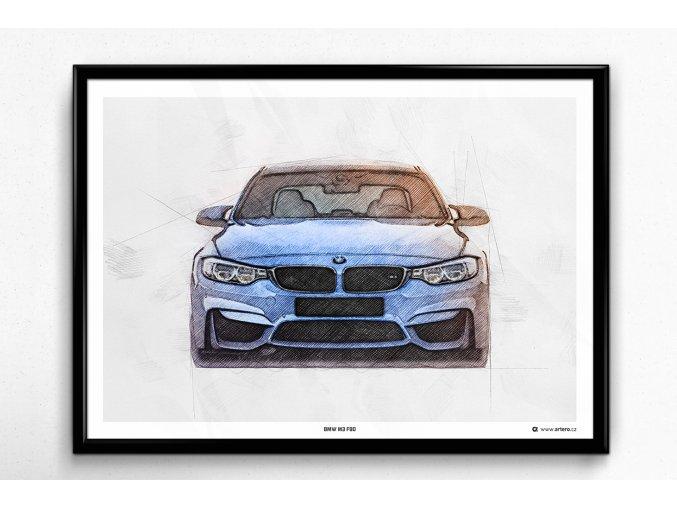 """BMW M3 F80 """"Front"""" - plakát, obraz na zeď"""