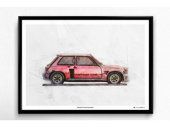 Renault 5 Turbo 2 Evolution - plakát, obraz na zeď