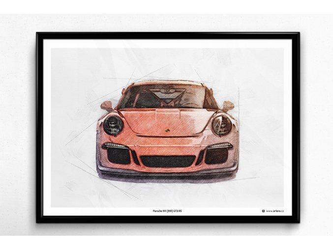 "Porsche 911 (991) GT3 RS ""Front"" - plakát, obraz na zeď"