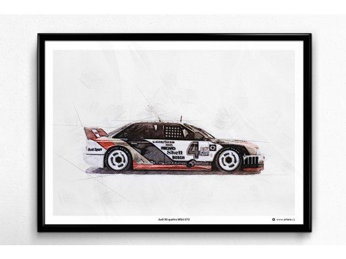 Audi 90 quattro IMSA GTO - plakát, obraz na zeď