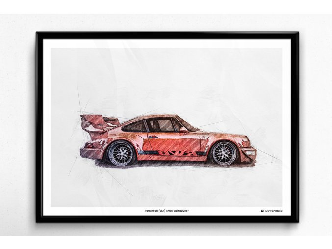 """Porsche 911 (964) RWB """"CCW"""" - plakát, obraz na zeď"""