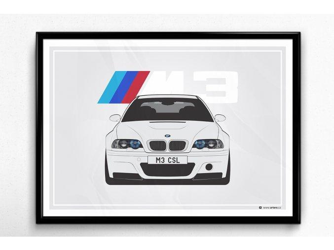 BMW M3 E46 CSL - plakát, obraz na zeď