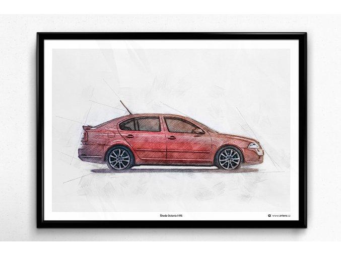 Škoda Octavia 2 RS - plakát, obraz na zeď