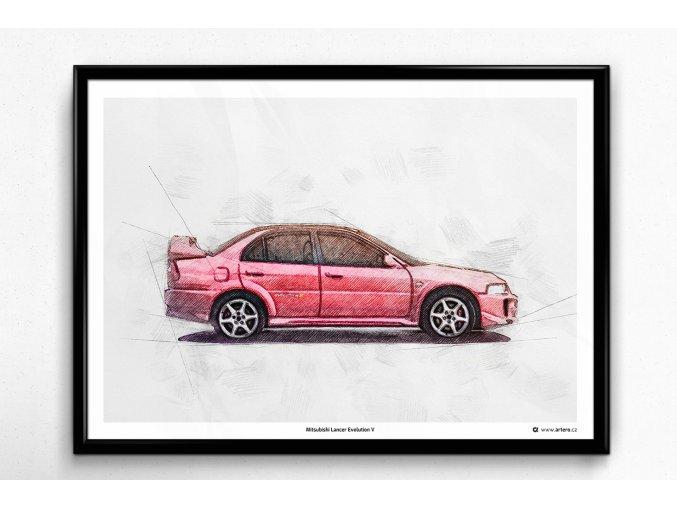 Mitsubishi Lancer EVO V - plakát, obraz na zeď