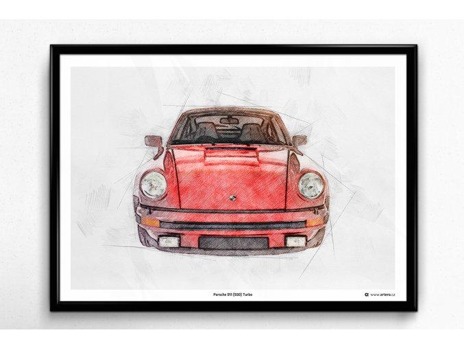 """Porsche 911 (930) Turbo """"červená"""" - plakát, obraz na zeď"""
