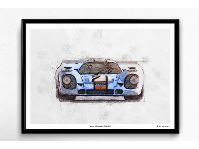 "Porsche 917 Le Mans 1970 ""Gulf"" - plakát, obraz na zeď"