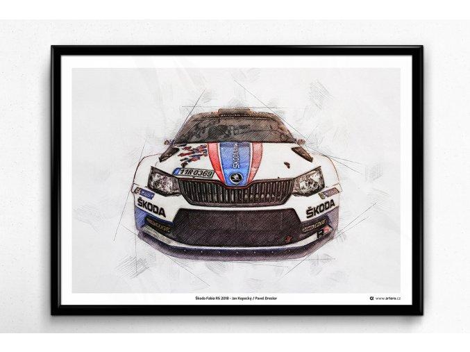 Škoda Fabia R5 2018 - plakát, obraz na zeď