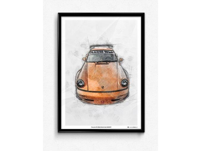 """Porsche 911 (964) RWB HIBIKI """"Front"""" - plakát, obraz na zeď"""