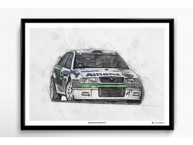 Škoda Octavia WRC Evo III - plakát, obraz na zeď
