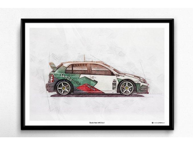 Škoda Fabia WRC Evo I - plakát, obraz na zeď