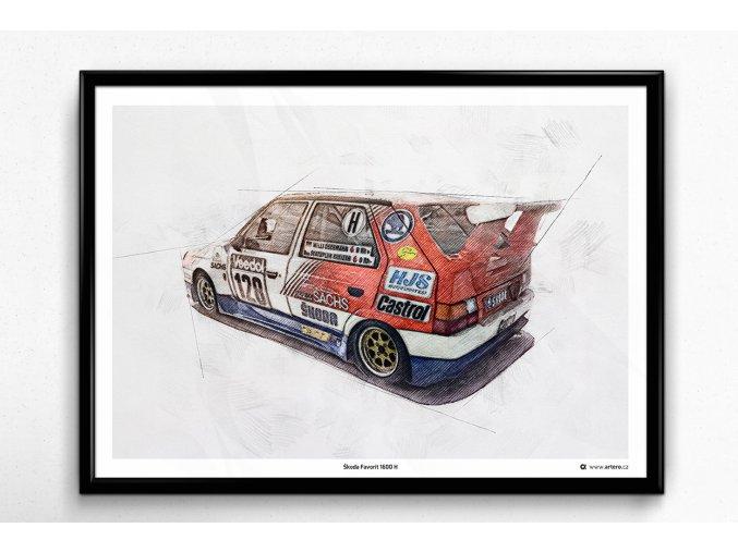 Škoda Favorit 1600 H - plakát, obraz na zeď