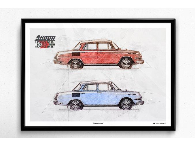 Škoda 1000 MB 1964 - plakát, obraz na zeď