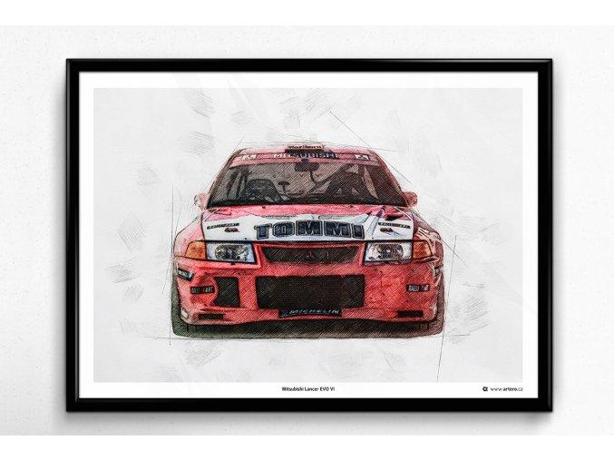 Mitsubishi Lancer EVO VI - plakát, obraz na zeď