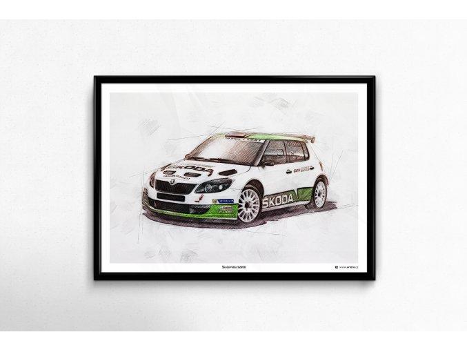 """Škoda Fabia S2000 """"2014"""" - plakát, obraz na zeď"""