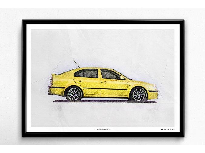 """Škoda Octavia 1 RS """"Žlutá Lemon"""" - plakát, obraz na zeď"""