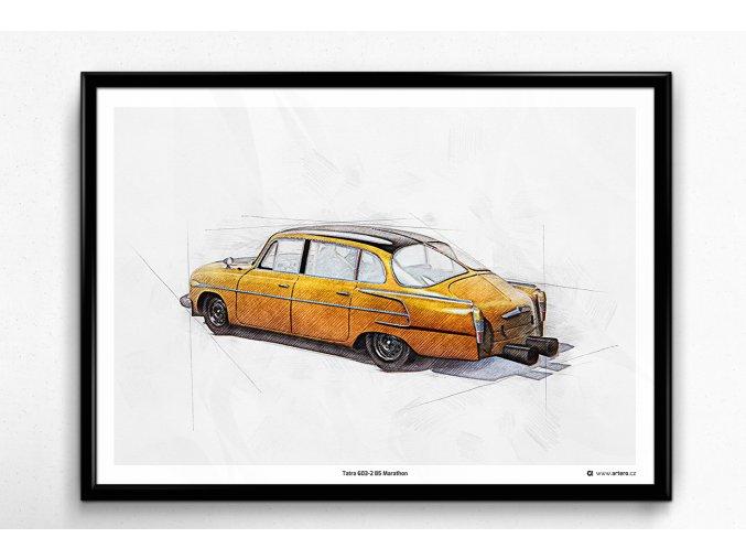 Tatra 603-2 B5 Marathon - plakát, obraz na zeď