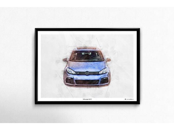 Volkswagen Golf 6 R - plakát, obraz na zeď