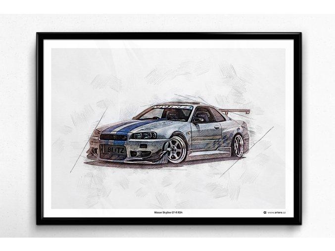 Nissan Skyline GT-R R34 - plakát, obraz na zeď