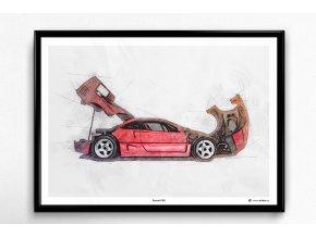 Ferrari F40 - plakát, obraz na zeď