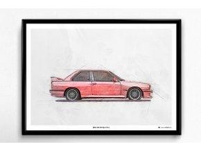 BMW M3 E30 Sport Evo - plakát, obraz na zeď