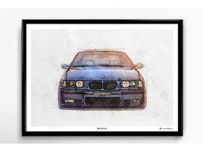 """BMW M3 E36 """"Front"""" - plakát, obraz na zeď"""