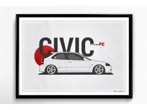 Honda Civic Type R (1998) - plakát, obraz na zeď