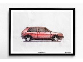 Volkswagen Golf 2 GTI 8V - plakát, obraz na zeď