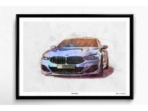 BMW M850i 2019 - plakát, obraz na zeď
