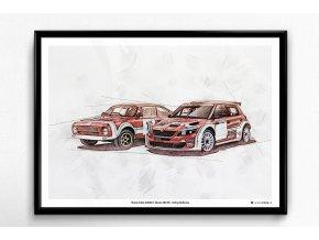 Škoda 200 RS + Fabia S2000 Rallye Bohemia - plakát, obraz na zeď