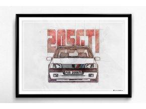 Peugeot 205 GTI - plakát, obraz na zeď