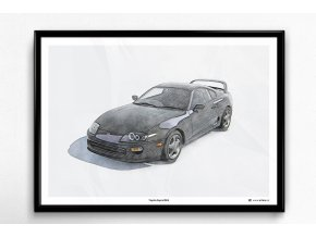 Toyota Supra MK4 (černá) - plakát, obraz na zeď