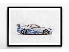 """Nissan Skyline GT-R R34 """"Rychle a zběsile"""" - plakát, obraz na zeď"""