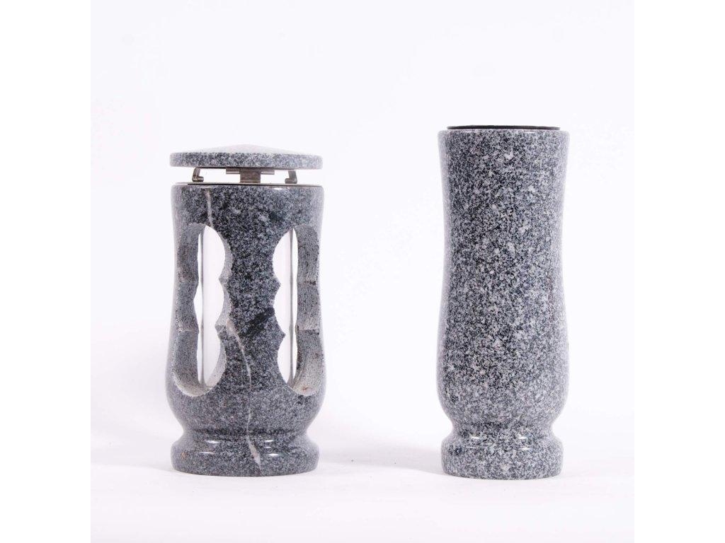 Váza a svítilna - Slezská tmavá žula (S2, V2)