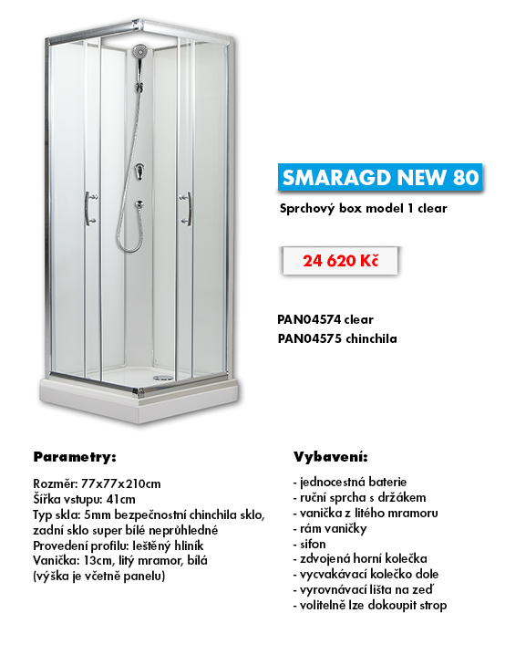 225-SMARAGD NEW 80 - sprchový box model 1 clear