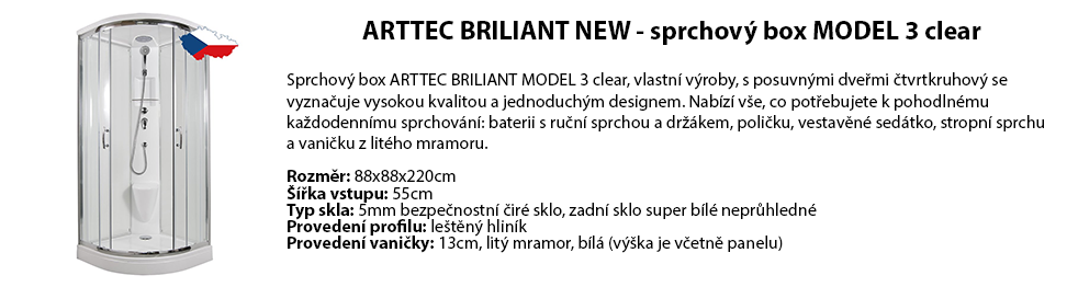 ARTTEC BRILIANT NEW - sprchový box MODEL 3 clear