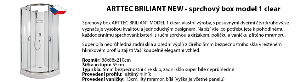 ARTTEC BRILIANT NEW - sprchový box model 1 clear